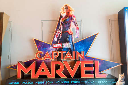 KUALA LUMPUR, MALAYSIA - APRIL 3, 2019: Captain Marvel movie poster, is movie is about Carol Danvers becomes one of the universe's most powerful heroes