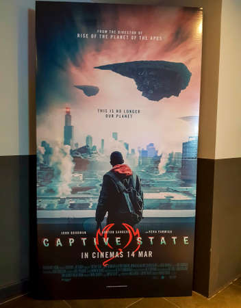 KUALA LUMPUR, MALAYSIA - MARCH 20, 2019: Captitve State movie poster. This movie is about extra-terrestrial conflict Redakční