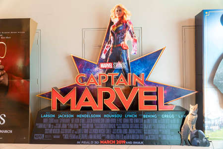 KUALA LUMPUR, MALAYSIA - APRIL 3, 2019: Captain Marvel movie poster, is movie is about Carol Danvers becomes one of the universes most powerful heroes Editorial