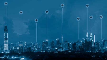 Cityscape Kuala Lumpur futuristic network link circuit