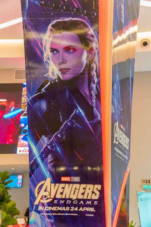 KUALA LUMPUR, MALASIA - 19 DE ABRIL DE 2019: Black Widow de The Avengers Endgame Movie Wall Banner