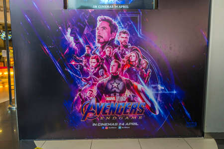KUALA LUMPUR, MALAYSIA - APRIL 19, 2019: The Avengers Endgame movie poster, is a 2019 American superhero film based on the Marvel Comics superhero team