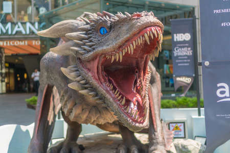 KUALA LUMPUR, MALAYSIA - APRIL 19, 2019: Dragon replica from Game of Thrones during roadshow at Kuala Lumpur, Malaysia. Game of Thrones is an American fantasy drama television series created for HBO