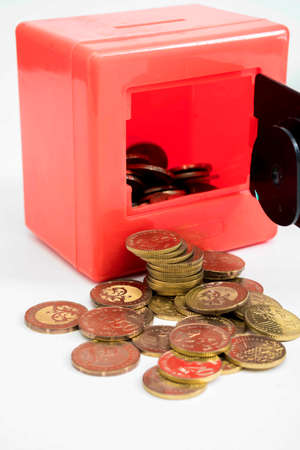 Red safe box and coins