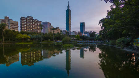 Taipei City sunrise with cityscape view of Taiwan and reflection taken during sunrise