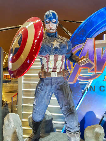 KUALA LUMPUR, MALAYSIA - MAY 6, 2019: Captain America from Avengers Endgame. The Avengers, is a American superhero film based on the Marvel Comics superhero team produced by Marvel Studios