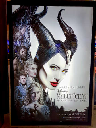 KUALA LUMPUR, MALAYSIA - OCTOBER 6, 2019: Maleficent Mistress of Evil movie poster, is a dark fantasy adventure film starring Angelina Jolie 報道画像
