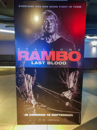 KUALA LUMPUR, MALAYSIA - SEPTEMBER 15, 2019: Rambo Last Blood movie poster, is a action film based on the character John Rambo sequel to previous Rambo Movie