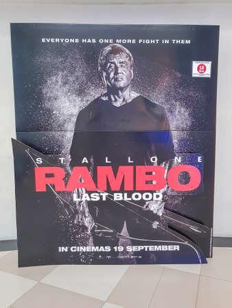 KUALA LUMPUR, MALAYSIA - SEPTEMBER 19, 2019: Rambo Last Blood movie poster, is a action film based on the character John Rambo sequel to previous Rambo Movie Editöryel