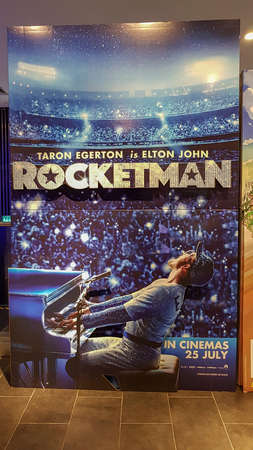 KUALA LUMPUR, MALAYSIA - JULY 15, 2019: Rocketman movie poster. Rocketman is movie based on the life of musician Elton John Display at the theater.