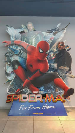 KUALA LUMPUR, MALAYSIA - JULY 20, 2019: Spider-man Far From Home movie poster, This movie featuring Spiderman versus Mysterio
