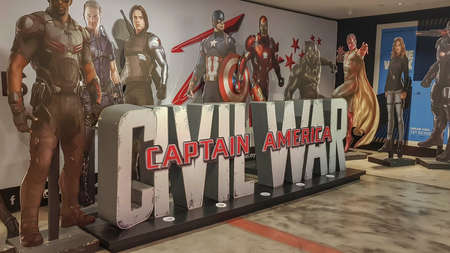 KUALA LUMPUR, MALAYSIA - JULY 20, 2019: Captain America Civil War movie poster at the cinema Sajtókép