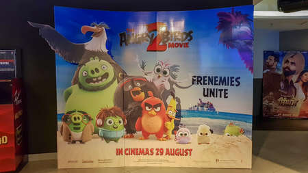 KUALA LUMPUR, MALAYSIA - JULY 31, 2019: Angry Bird 2 movie poster. The Angry Birds Movie is a 3D computer-animated action adventure comedy film based on the video game Sajtókép