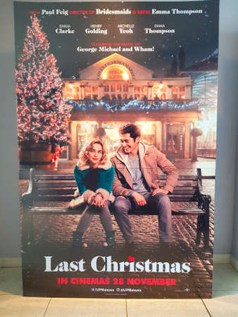KUALA LUMPUR, MALAYSIA - DECEMBER 5, 2019: Last Christmas movie standee, is a 2019 British romantic comedy starring Emilia Clarke and Henry Golding