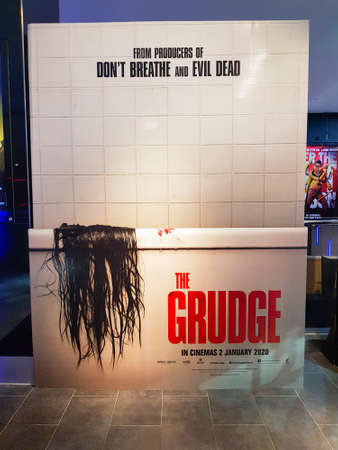 KUALA LUMPUR, MALAYSIA - JANUARY 8, 2020: The Grudge movie standee, is a 2020 American supernatural horror film written and directed by Nicolas Pesce