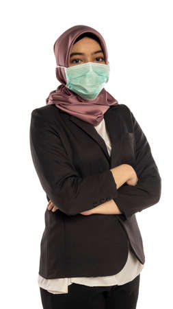 Business Lifestyle, Cute Malay Woman wearing hijab and face mask 版權商用圖片