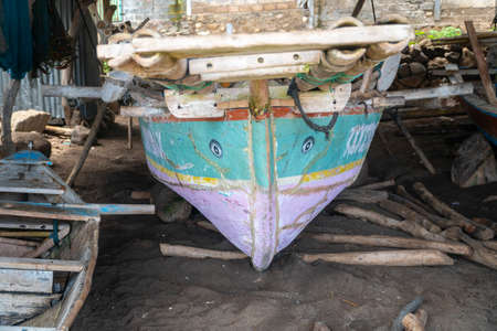 Traditional boat at Lamalera, Nusa Tenggara, Indonesia. Lamalera is home of the Traditional Whale Hunting people