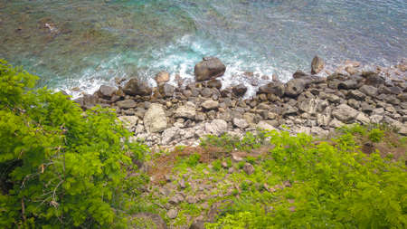 Beautiful nature of blue sea sand and white waves at Lamalera, Indonesia