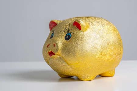 Finance concept, gold piggy bank with white background Zdjęcie Seryjne