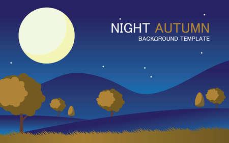 vector night autumn landscape background template Vector Illustratie