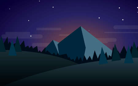 Night mountain landscape vector illustration Illustration