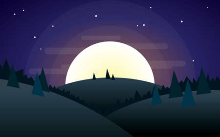 half moon night mountain landscape vector illustration