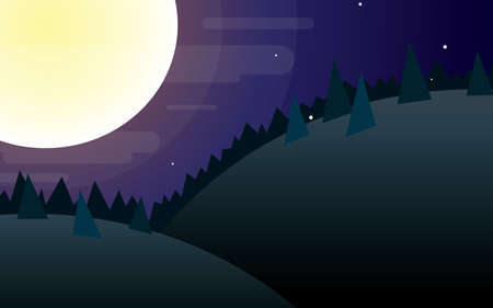Full moon night mountain landscape vector illustration