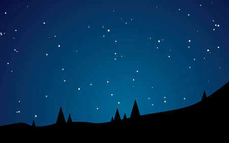 Beautiful stary night landscape vector illustration