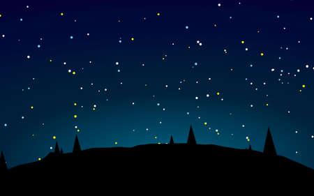 Beautiful stary night landscape vector illustration Ilustracje wektorowe
