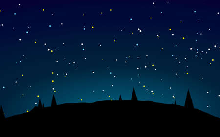 Schöne Sternennachtlandschaftsvektorillustration Vektorgrafik