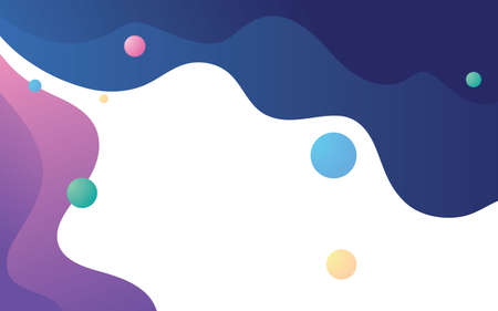 Abstract fluid geometric background. Colorful wavy shape composition. Blue and purple background vector.