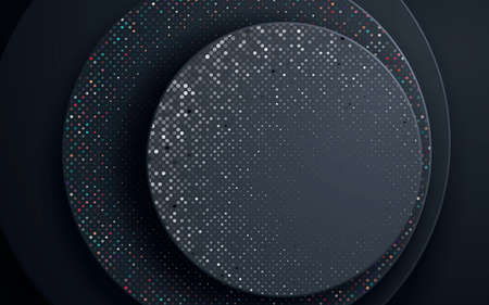 Black circle abstract background with colorful glitters. Circle geometric paper shapes.