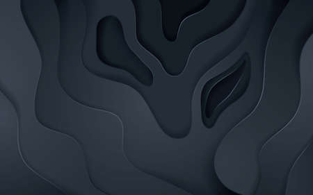 Abstract black papercut decoration texture with overlap layers effect. Black paper cut background.