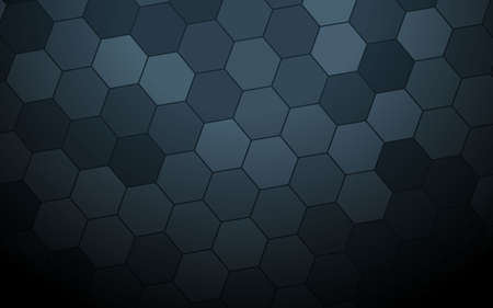 Dark grey abstract hexagon pattern background with light blue