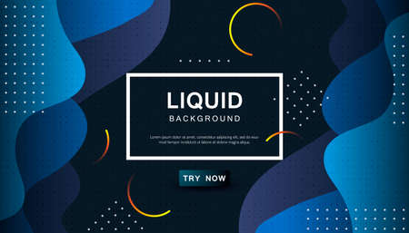 Dynamic abstract wavy background. Modern black and blue light fluid shape with geometric dots composition. Dark background vector illustration.