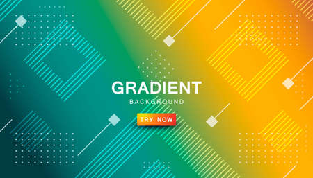Dynamic orange and tosca gradient background abstract shape composition. Stock Illustratie
