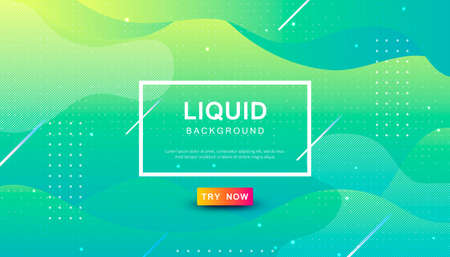 Modern blue and yellow dynamic background. Geometric fluid with halftone shape composition. Stock Illustratie