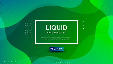 Green liquid color background. Dynamic textured geometric element design with dots decoration. Modern gradient light vector illustration.