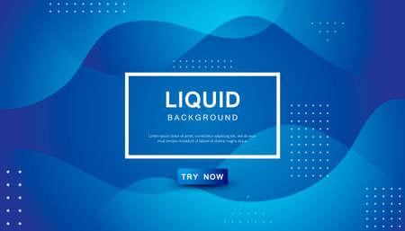 Blue liquid color background. Dynamic textured geometric element design with dots decoration. Modern gradient light vector illustration.