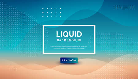 Modern blue and brown dynamic background. Geometric fluid with halftone shape composition.