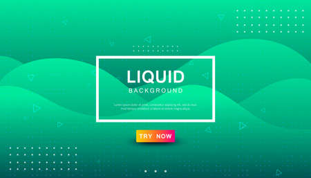 Green tosca liquid color background. Dynamic textured geometric element design with dots decoration. Modern gradient light vector illustration.