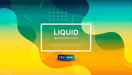 Modern blue and orange gradient dynamic background. Geometric fluid with halftone shape composition. Colorful liquid backdrop. Stock Illustratie