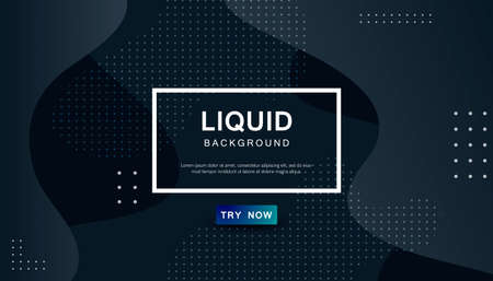 Dynamic abstract wavy background. Modern black light fluid shape with geometric dots composition. Dark background vector illustration. Stock Illustratie