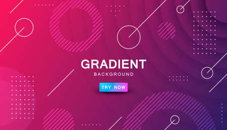 Purple circle color background. Dynamic textured geometric element design with dots decoration. Modern red and purple gradient light vector illustration. Stock Illustratie
