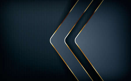 Dark overlap layers abstract background. Modern shape with light golden line element decoration. Realistic dimension design vector illustration.
