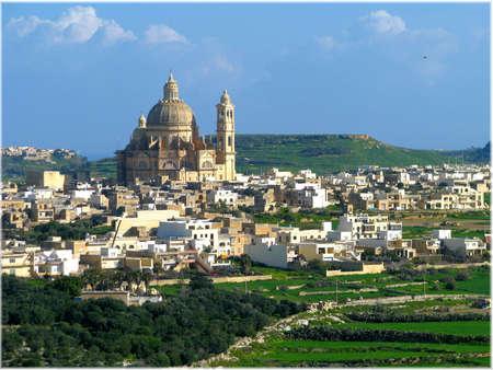 gozo: The city and parish church of Xewkija, Gozo - Malta.