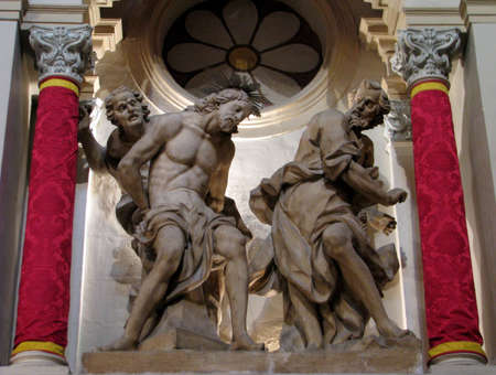 A stone sculpture of The Flagellation of Jesus in Cospicua, Malta  Stock Photo - 13602142