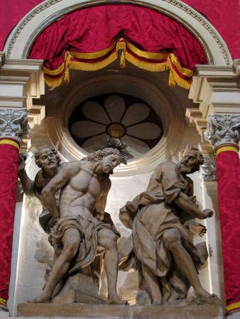 flagellation: A stone sculpture of The Flagellation of Jesus in Cospicua, Malta