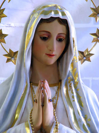 of our lady: A detail of the statue of Our Lady of Fatima in Gwardamangia, Malta. Stock Photo