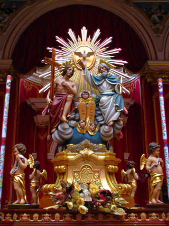 marsa: A statue representing The Holy Trinity on display in Marsa, Malta.